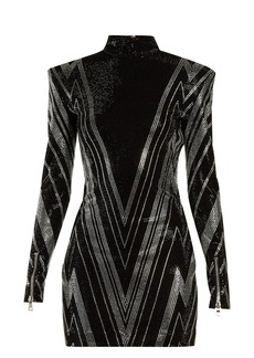 Balmain Chevron crystal-embellished mini dress