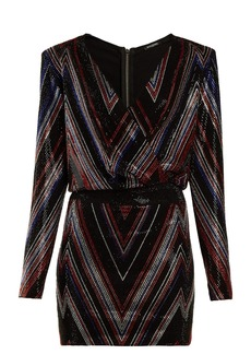 Balmain Chevron-stripe mini dress