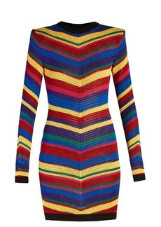 Balmain Chevron-striped knitted mini dress