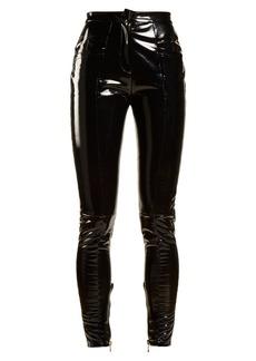 Balmain Coated mid-rise skinny-leg trousers