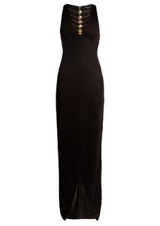 Balmain Coin-embellished jersey gown