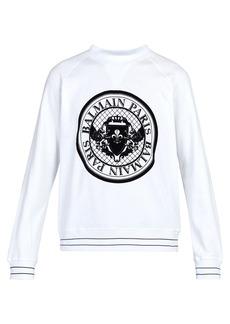 Balmain Coin logo-flocked cotton-jersey sweatshirt