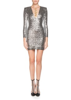 Balmain Coin-Trim Sequined Mini Cocktail Dress