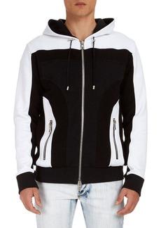 Balmain Colorblock Cotton Zip-Front Hoodie