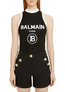 Balmain Contrast Trim Logo Bodysuit