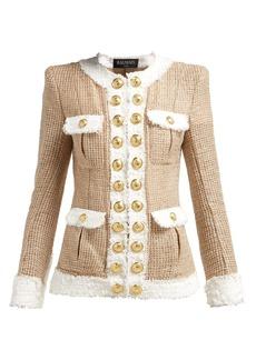 Balmain Contrast-trimmed tweed jacket