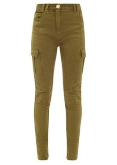 Balmain Corduroy-panelled high-rise skinny-leg jeans