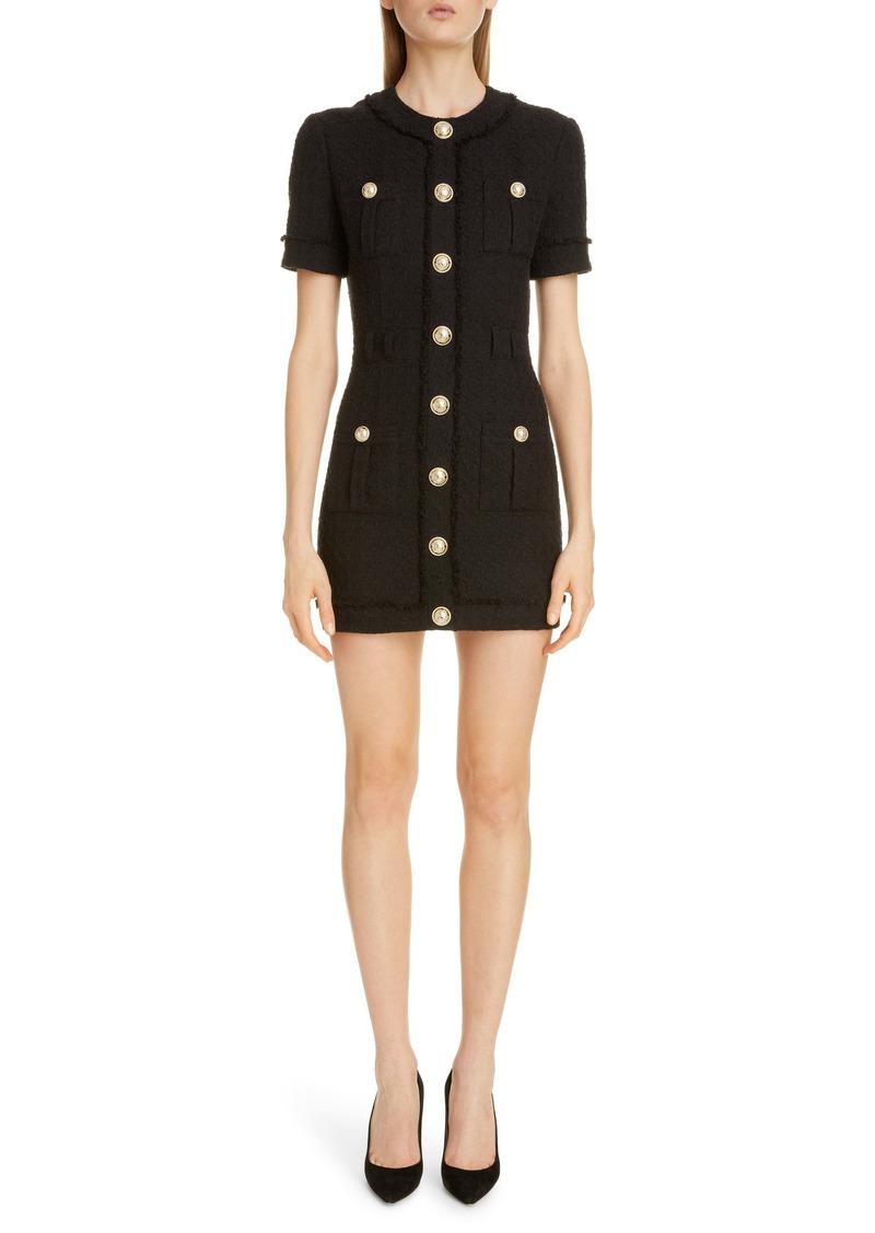 Balmain Cotton Blend Tweed Minidress