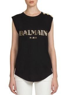 Balmain Cotton Logo Muscle Tee