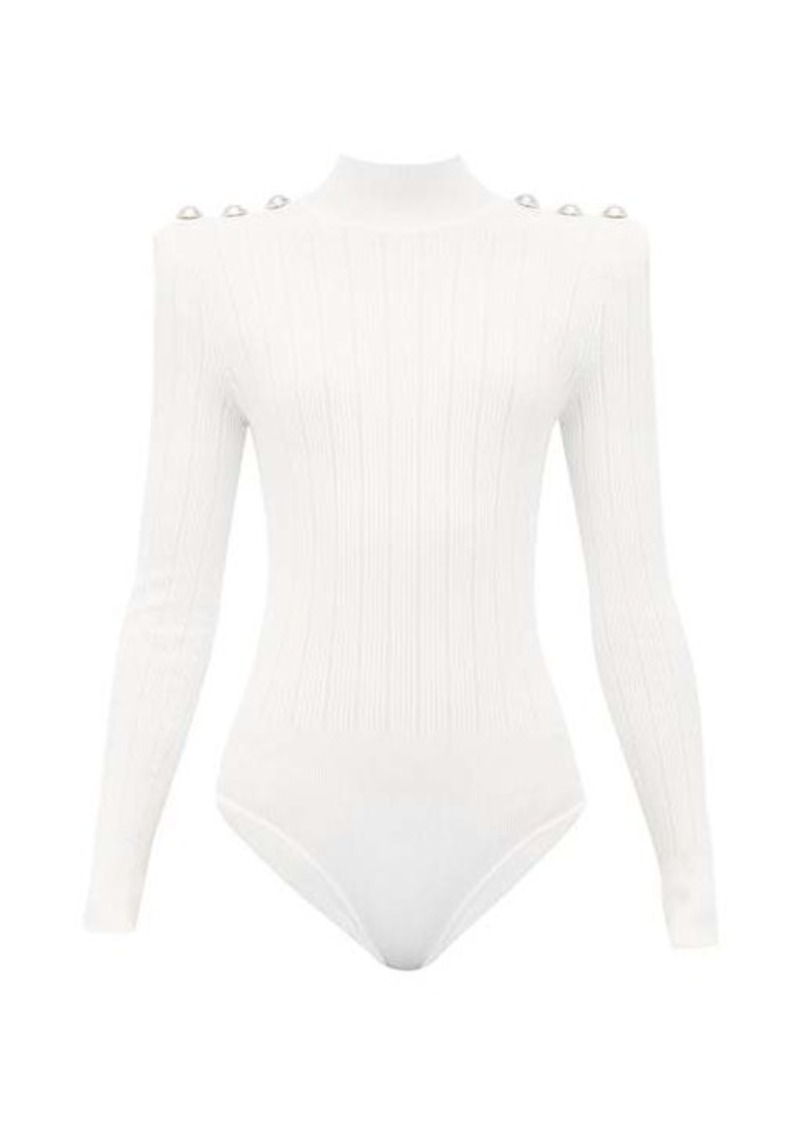 Balmain Crest-button ribbed-knit bodysuit