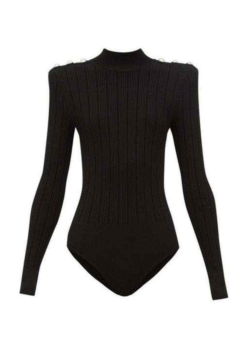 Balmain Crest-button ribbed-knit bodysuit