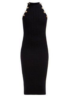 Balmain Crest-embossed button wool-blend halterneck dress