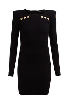 Balmain Crest-embossed button wool-blend mini dress