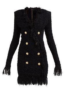 Balmain Crest-embossed double-breasted tweed mini dress