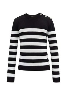 Balmain Crest press-stud striped wool-blend sweater