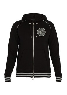 Balmain Crest-print cotton-jersey hooded sweatshirt