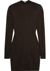 Balmain Croc-effect knitted mini dress