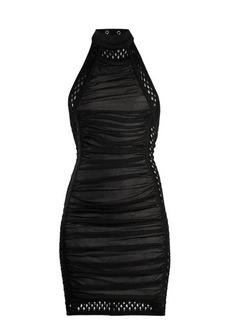 Balmain Crochet-trimmed halterneck ruched mini dress
