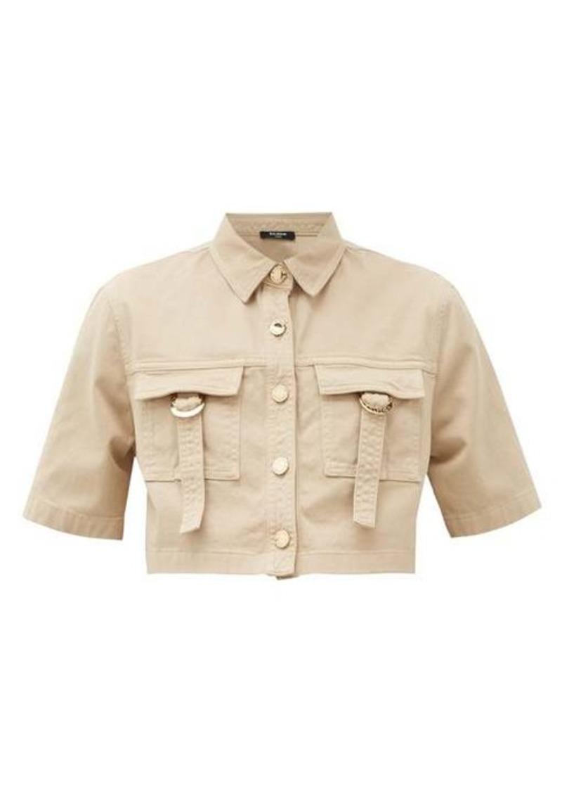 Balmain Cropped cotton-blend safari shirt