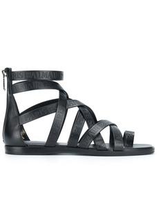 Balmain crossover strap sandals - Black