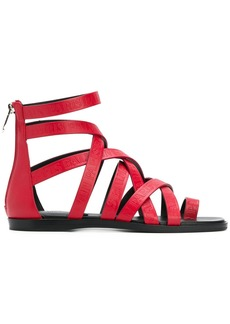 Balmain crossover strappy sandals - Red