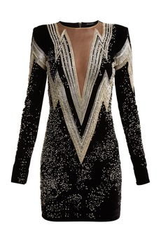 Balmain Crystal and bead-embroidered velvet mini dress