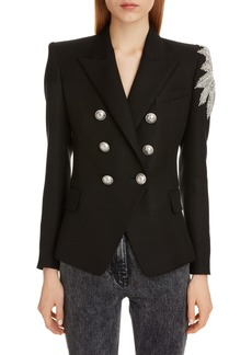 Balmain Crystal Embellished Double Breasted Blazer