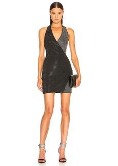 BALMAIN Crystal Embellished Halter Mini Dress