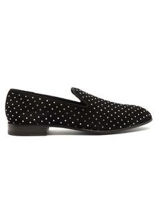 Balmain Crystal-embellished suede loafers