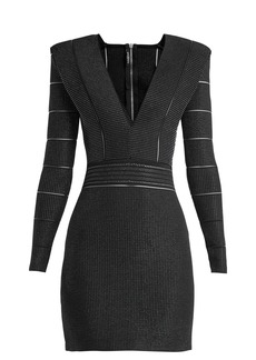 Balmain Deep V-neck knitted mini dress