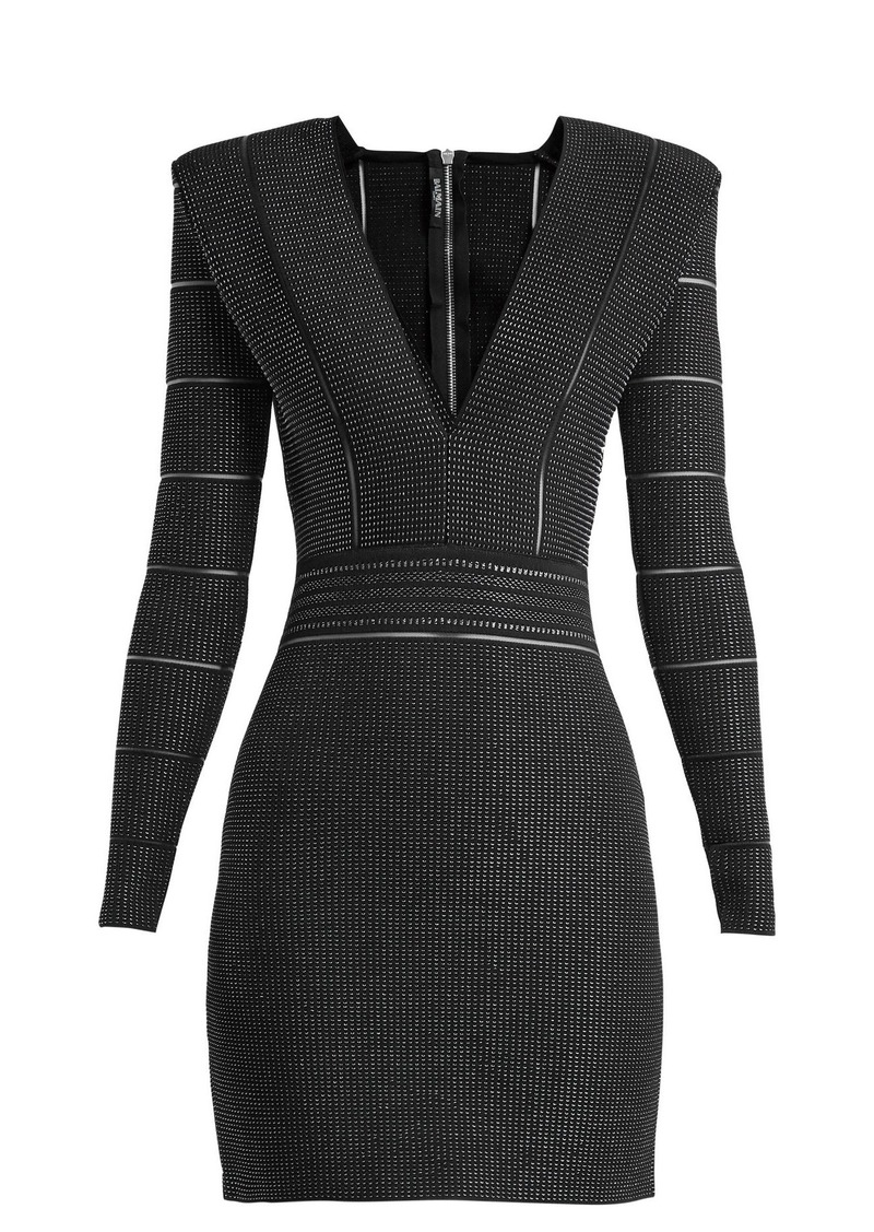 a905a9326941 Balmain Balmain Deep V-neck knitted mini dress Now $1,325.00