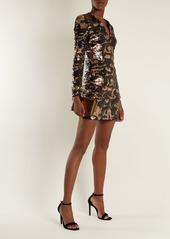 Balmain Deep V-neck sequin mini dress
