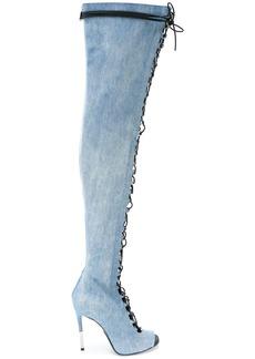 Balmain denim Campbel boots - Blue