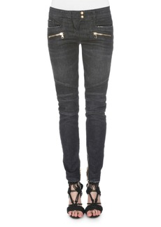 Balmain Denim Moto Jeans  Black