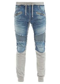 Balmain Denim-panelled slim-fit jersey track pants