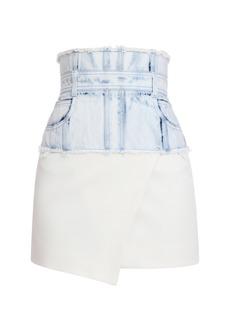Balmain Denim-Trim Asymmetrical Mini Skirt