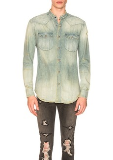 BALMAIN Destroyed Vintage Long Sleeve Shirt