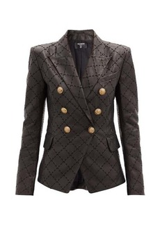Balmain Diamond-embroidered leather blazer