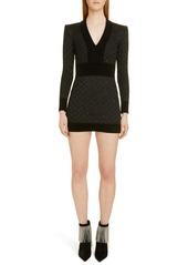 Balmain Diamond Knit Long Sleeve Sweater Dress
