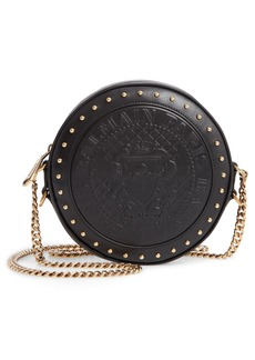 Balmain Disco Embossed Lambskin Leather Crossbody Bag