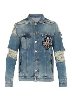 Balmain Distressed crystal-embellished denim jacket