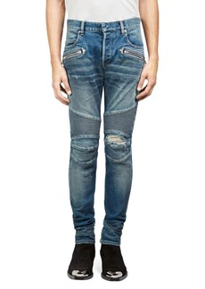 Balmain Distressed Moto Skinny Jeans