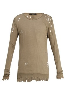 Balmain Distressed ribbed-knit jersey sweater