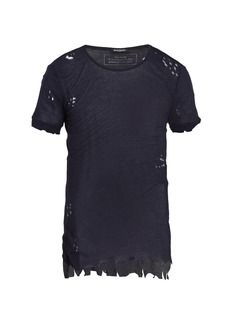 Balmain Distressed ribbed-knit jersey t-shirt