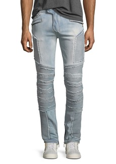 Balmain Distressed Skinny Light-Wash Moto Jeans