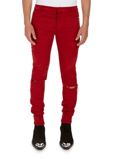 Balmain Distressed Skinny Solid Jeans