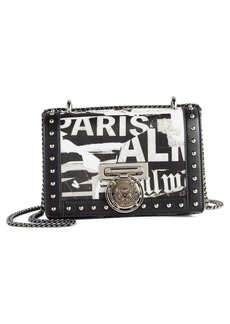 Balmain Domaine Logo Print Leather Crossbody Bag