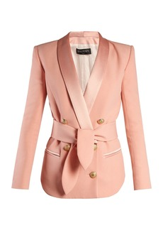 Balmain Double-breasted belted crepe blazer