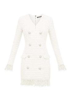 Balmain Double-breasted bouclé-tweed mini dress
