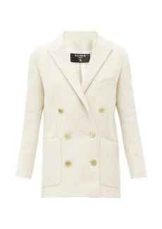 Balmain Double-breasted brushed wool-blend jacket